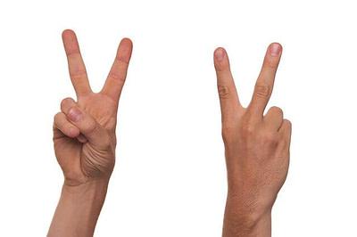 v hand symbol